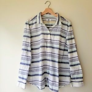 Old Navy Linen Striped LS Button Up Shirt